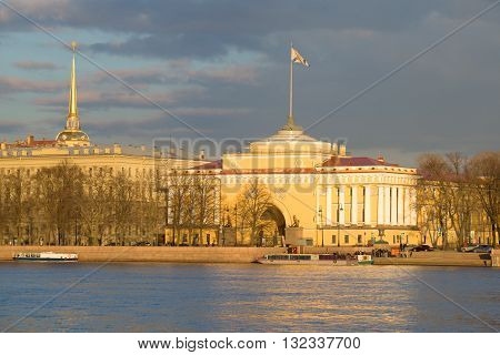 SAINT-PETERSBURG, RUSSIA - APRIL 23, 2016: Admiralty building in the sunset evening in april. Historical landmark of the city St. Petersburg