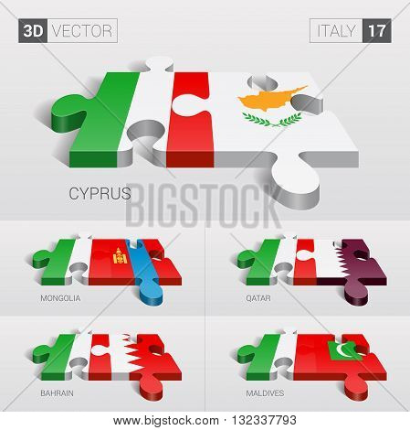 Italy and Cyprus, Mongolia, Qatar, Bahrain, Maldives Flag. 3d vector puzzle. Set 17.