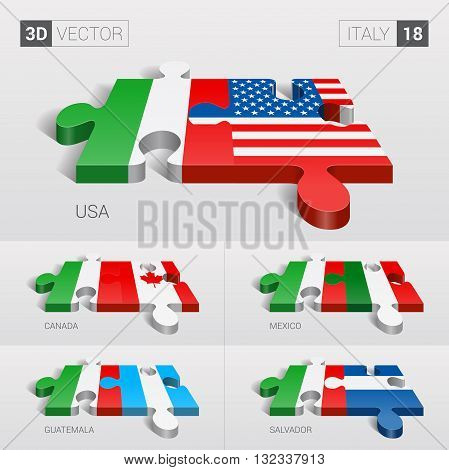 Italy and USA, Canada, Mexico, Guatemala, Salvador Flag. 3d vector puzzle. Set 18.
