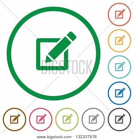 Set of editor color round outlined flat icons on white background