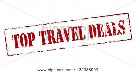 Rubber stamp with text top[ travel deals inside vector illustration
