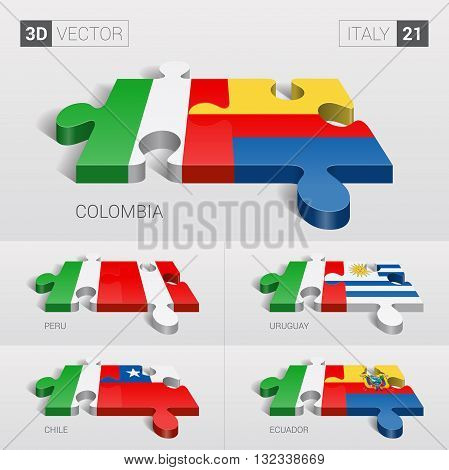 Italy and Colombia, Peru, Uruguay, Chile, Ecuador Flag. 3d vector puzzle. Set 21.