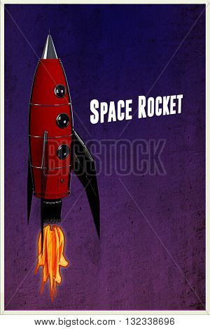 3d illustration of a retro space rocket