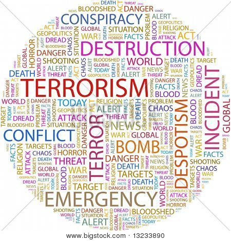 TERRORISM. Word collage on white background. Illustration with different association terms.