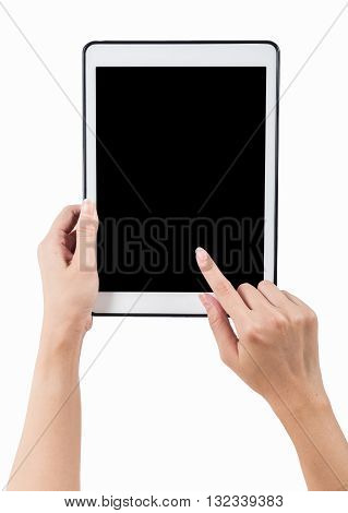 Hands holding tablet vertical white background. use clipping path