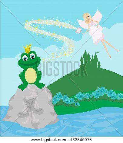 Frog Prince and fairy on castle landscape , vector illustration