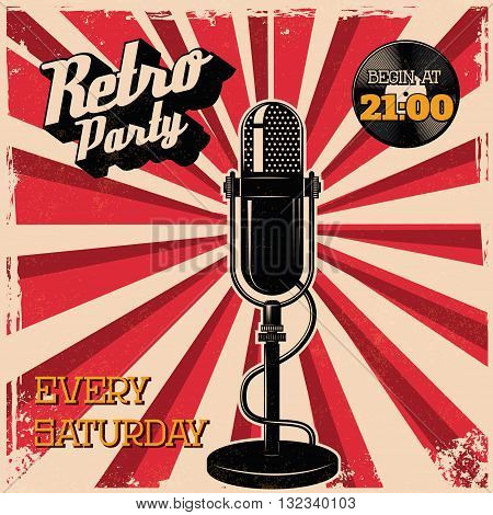 Retro party vintage poster template. Old style microphone on grunge background. Vector illustration.
