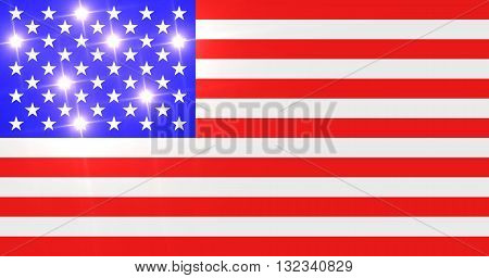 Brilliant US flag with shiny stars isolated on white
