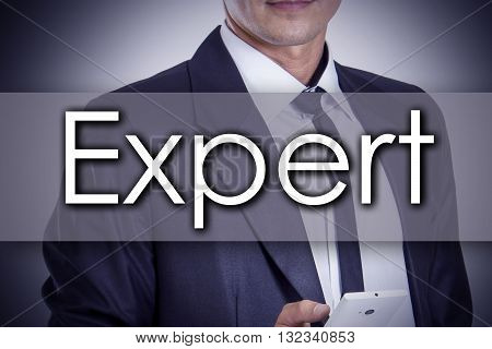Expert - Young Businessman With Text - Business Concept