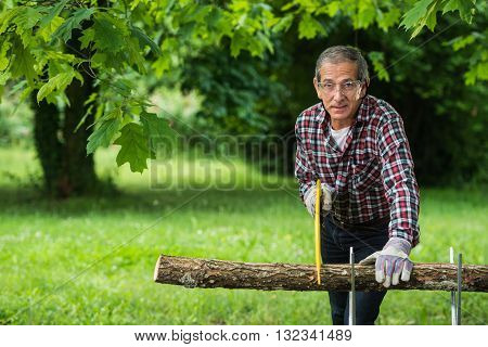 Senior Man Sawing A Log Handsaw Closeup