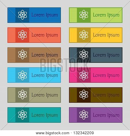 Atom, Physics Icon Sign. Set Of Twelve Rectangular, Colorful, Beautiful, High-quality Buttons For Th