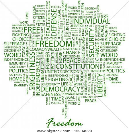 FREEDOM. Word collage on white background. Word cloud concept illustration of  association terms.
