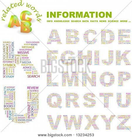 INFORMATION. Vector letter collection. Word cloud concept illustration of  association terms.
