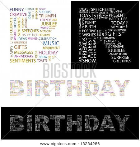BIRTHDAY. Word cloud concept illustration of  association terms.