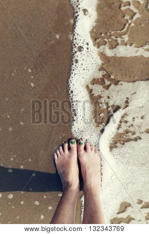 Bare Feet Foot Leisure Relaxation Recreation Sea Concept