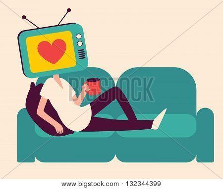 Cartoon Tv Head Girl On A Sofa
