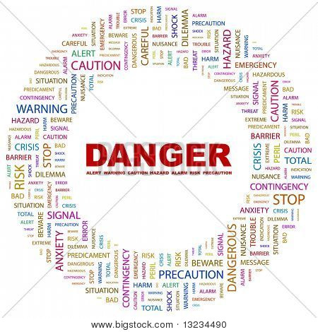 DANGER. Word collage on white background. Vector illustration.