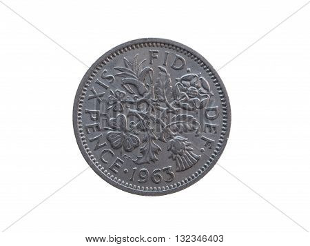 Six pence coin (GBP) released in 1963