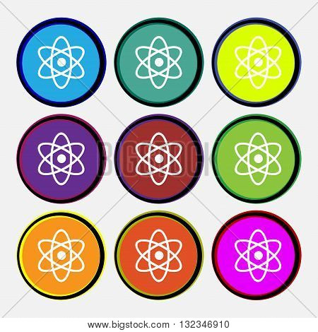 Atom, Physics Icon Sign. Nine Multi Colored Round Buttons. Vector