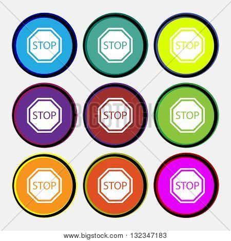 Stop Icon Sign. Nine Multi Colored Round Buttons. Vector