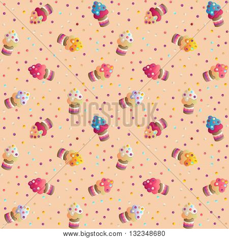 Seamless pattern with a cute appetizing cakes and candies on a beige  background