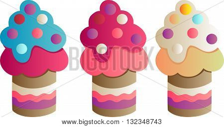 Drawing of a set of three cupcakes with candies. gradient coloring