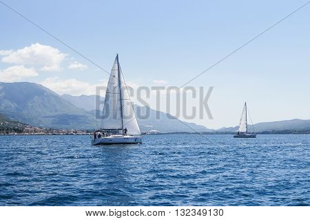 Tivat, Montenegro - 26 April, Two yachts on the water, 26 April, 2016. Regatta