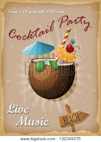 Cocktail party vintage poster. Coconut cocktail. Vector illustration.
