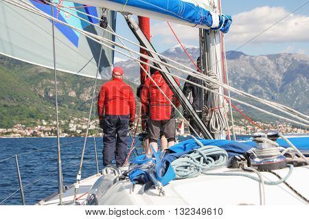 Tivat, Montenegro - 26 April, The team on the boat going to the beach, 26 April, 2016. Regatta