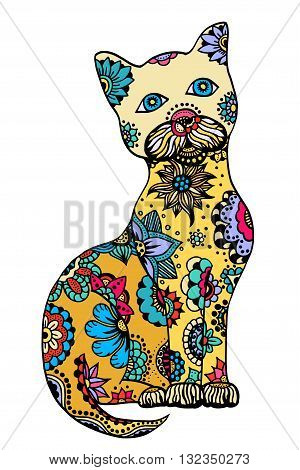Cute doodle cat. Vector hand drawn cat with doodle ornament. Spring cat design for kids. Isolated.