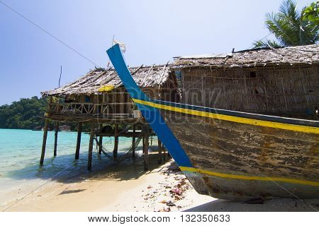 The boat of Mo Gan community in Surin Island