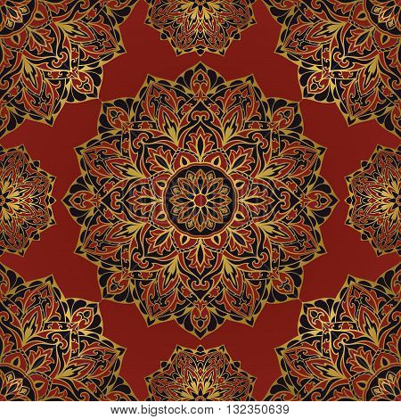 Rich dark oriental medieval ornament with a gold outline. Seamless pattern of circular elements. Vector design of mandalas. Template for textiles shawl cover carpet wallpaper.