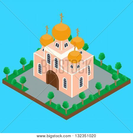 vector illustration. building of the Orthodox Christian Church with domes and crosses on the street the trees the road. isometric infographics 3D