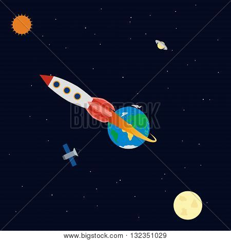 vector illustration. Banner space with planets, rocket, satellite, aircraft. Earth, Saturn, sun, moon. Infographics