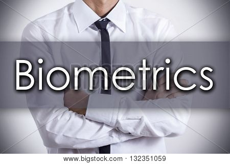 Biometrics - Young Businessman With Text - Business Concept