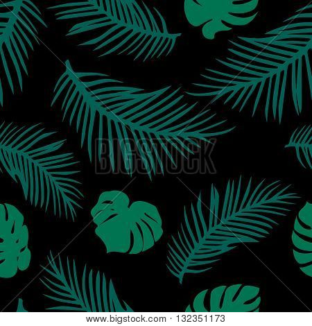 Trendy Modern Background with Palm and Monstera Leaves. Vector Seamless Pattern. Dark Natural Texture.