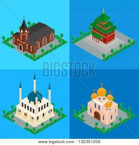 vector illustration. set of buildings Catholic, Orthodox Christian Church, Buddhist temple, Islamic Muslim mosque. Isometric, infographics, 3D