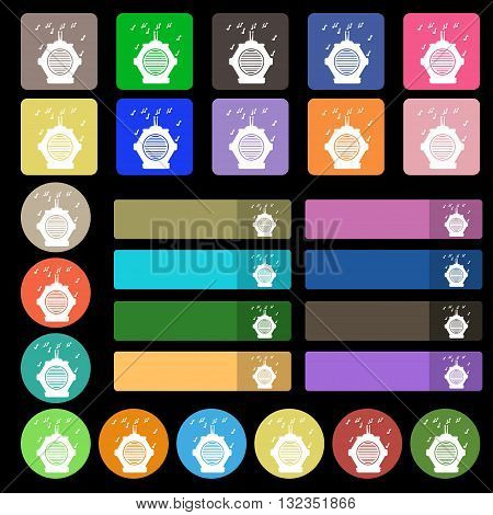 Old Analog Radio Icon Sign. Set From Twenty Seven Multicolored Flat Buttons. Vector