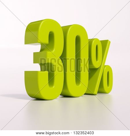 3d render: green 30 percent, percentage discount sign on white, 30%