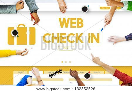 Web Check In Flight Traveling Concept