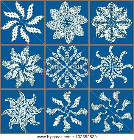 Gorgeous seamless patchwork pattern from blue Moroccan tiles ornaments. Can be used for wallpaper pattern fills web page background surface textures.