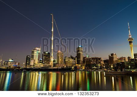 AUCKLAND, NEW ZEALAND - JANUARY 15 2016: Auckland night skyline