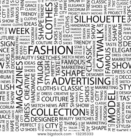 FASHION. Seamless vector pattern with word cloud. Illustration with different association terms.