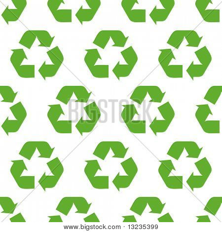 Reciclar sem costura de fundo. Padrão de vetor.