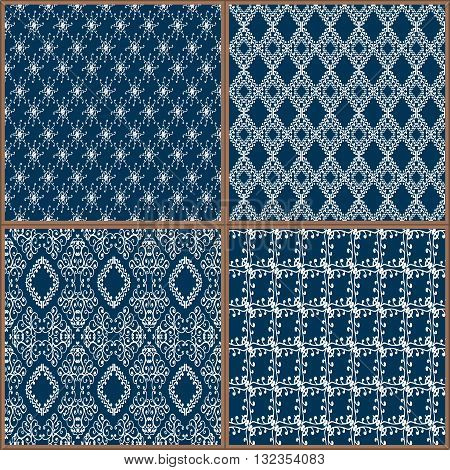 Indigo Blue Tiles Floor Ornament Collection. Gorgeous Seamless Patchwork Pattern from Colorful Traditional Painted Tin Glazed Ceramic Tilework Vintage Illustration Vector template background jpg eps