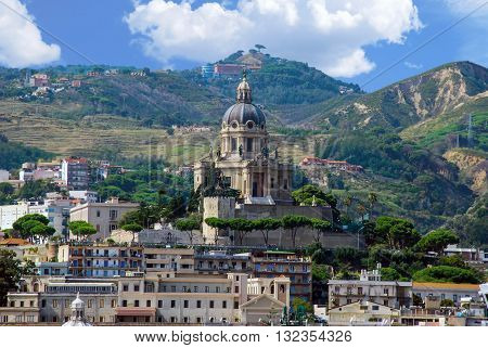 City view of Messina Sicilian town Italy.