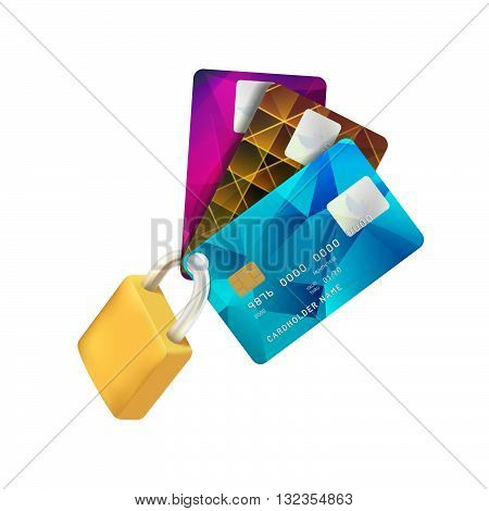 Padlock and Plastic Credit Cards. Concept of a Safe Payment. Vector Illustration Isolated on White Background. Secure Payment Symbol. Credit Card Protection Realistic Icon.