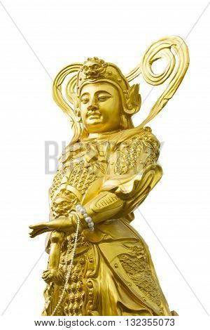 Chinese legend of the gods statue on white background.