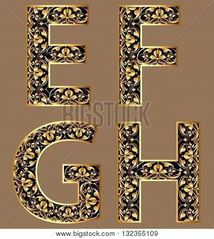 Illustration gold vintage decorative font characters efgh