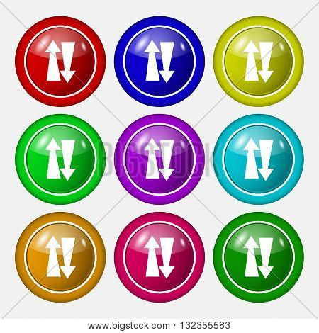 Two Way Traffic, Icon Sign. Symbol On Nine Round Colourful Buttons. Vector